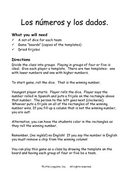 Los números y los dados/The numbers and dice game