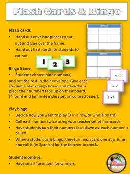 Los numeros / Spanish numbers 0-100 Flash Cards and Bingo