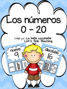 Los números 0-20 (Spanish Number Posters from 0 to 20) - blue chevron