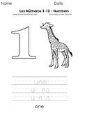 Los números 1 al 10 - Numbers 1 to 10 - Páginas para Color