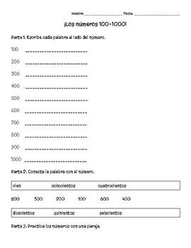 Los números 100-1000-Number practice 100-1000