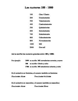 Los numeros 100 - 1000 en español