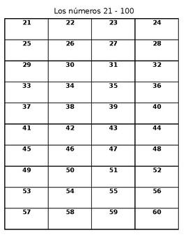 Los numeros 21-100