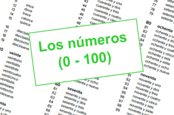 Los números - Numbers Reference Sheet