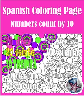 Los números Numbers up to 100 by 10 - Spanish Adult Coloring Pages