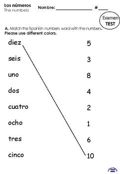Los números TEST 1st grade