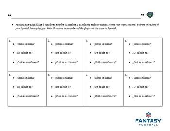 Los números practice with Fantacy Football