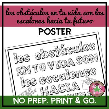 Los obstáculos en tu vida son los escalones hacia tu futuro Coloring Page/Poster