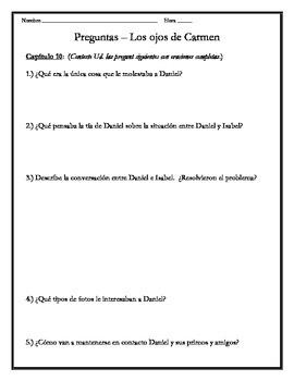 Los ojos de Carmen - Chapter 10 Questions
