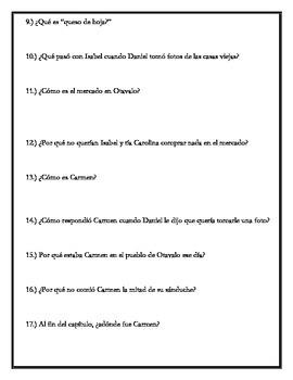 Los ojos de Carmen - Chapter 5 Questions