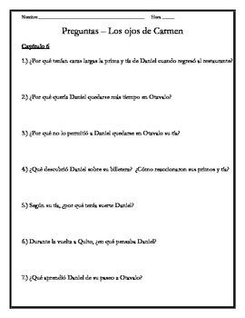 Los ojos de Carmen - Chapter 6 Questions