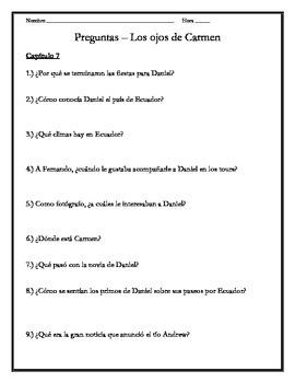 Los ojos de Carmen - Chapter 7 Questions