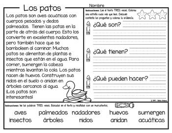 Los patos - CLOSE READING, Aprendiendo a leer