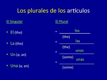 Spanish Plurals Los plurales PowerPoint and Interactive Notebook Activity