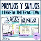Prefijos y sufijos Spanish prefixes and suffixes Bundle Interactive Notebook