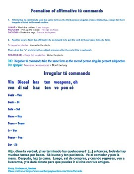 Part 1: Household chores with tú commands