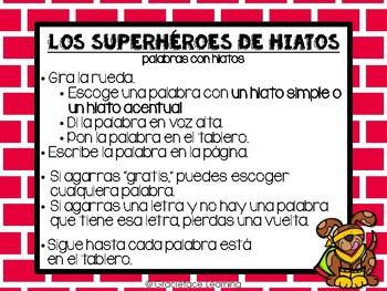 Los superhéroes de hiatos – A Spanish Phonics Center for Hiatuses