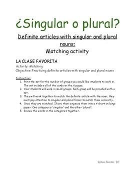 Los sustantivos - singulares y plurales