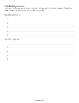 Los teléfonos celulares y los mandatos informales - Actividades y Guía de Leer
