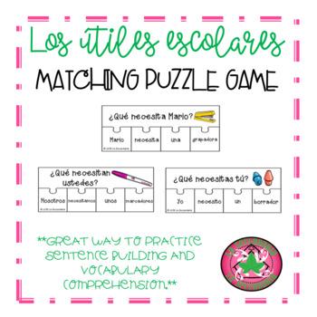 Los útiles escolares Sentence Puzzle Game