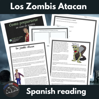 Los zombis atacan - past tense Spanish story - sub plan