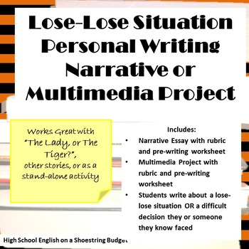 Lose Lose Situation Personal Writing Activities (The Lady or The Tiger)