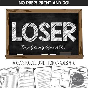 Loser Novel Unit for Grades 4-8 Common Core Aligned