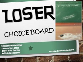 Loser Choice Board Novel Study Activities Menu Book Projec
