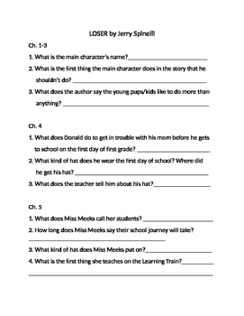 Loser Novel Study Packet