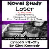 Loser Novel Study & Enrichment Project Menu