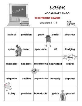 Loser Vocabulary Bingo