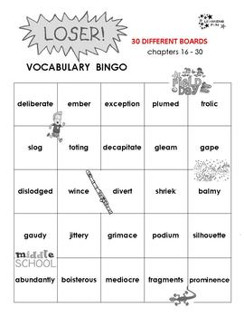 Loser Vocabulary Bingo