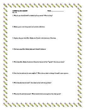 """Loser"", by J. Spinelli, Comprehension Questions"
