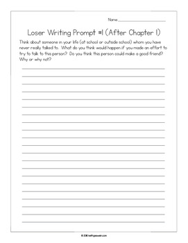 Loser by Jerry Spinelli Power Pack:  30 Journal Prompts and 15 Quizzes