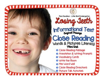 Losing Teeth Informational Text Close Reading: Words & Pictures Mini Unit