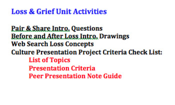 Loss and Grief Unit Activities