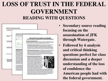 Loss of Trust in the Federal Government - Reading with Questions - USH/APUSH