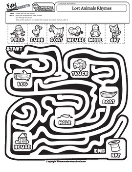 Lost Animals Rhymes Maze