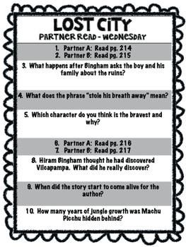 Lost City  Reading Street 4th grade unit 5 Partner Read centers groups