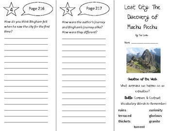 Lost City The Discovery of Machu Picchu Trifold - Reading St 4th Gr Un 5 Week 2