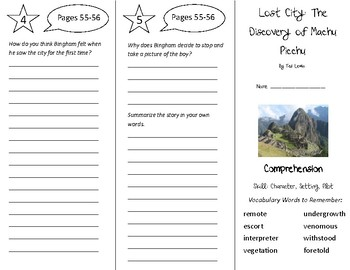 Lost City: The Discovery of Machu Picchu Trifold - Treasures 6th Gr Unit 1 Wk 2