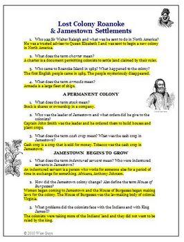 Roanoke and Jamestown Settlements Activity