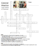 Lost Colony of Roanoke: Colonial America Crossword Puzzle