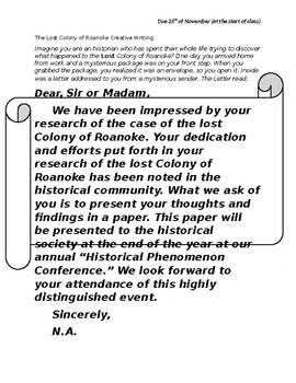 Lost Colony of Roanoke Creative Writing