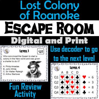 Lost Colony of Roanoke: Escape Room - Social Studies