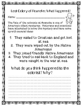 Lost Colony of Roanoke - Reading Comprehension Worksheet & Theories