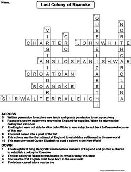 Lost Colony of Roanoke Worksheet/ Crossword Puzzle