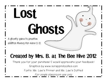 Lost Ghosts: Addition fluency practice for Halloween
