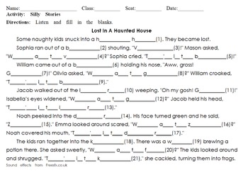 Lost In The Haunted House: Listening Dictation & Silly Story For Halloween