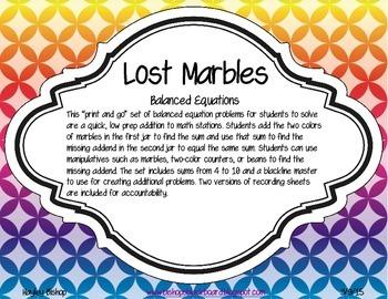 Lost Marbles Balancing Equations